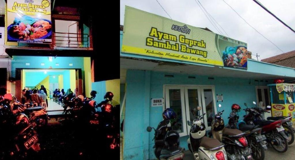 Dari kiri ke kanan: Kedai Ayam Gepak Cabang Kertoraharjo dan Cabang Gajayana