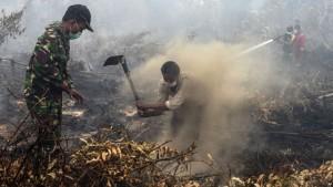 Jokowi di tengah kepulan asap via google