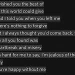 Penggalan lirik lagu Jealous via Data.whicdn